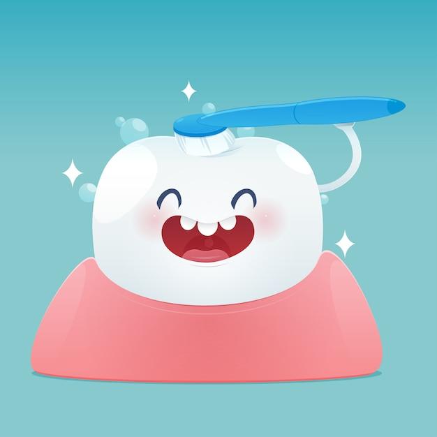 Los dientes lindos de la historieta sonríen felices y cepillan los dientes que limpian. Vector Premium