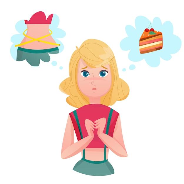 Dieta del forro dama tentaciones personaje de dibujos animados vector gratuito