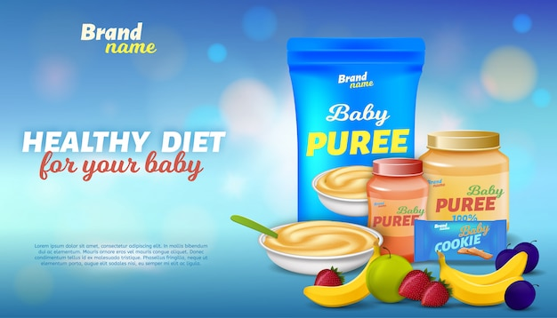 Dieta saludable para tu bebé banner publicitario Vector Premium