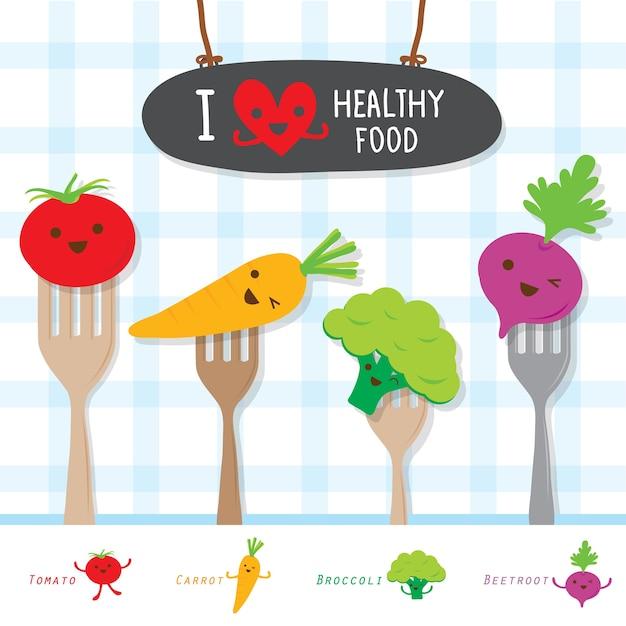 Dieta Vegetal De Alimentos Saludables Comer útil Dibujos Animados De