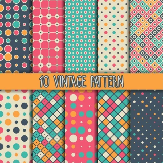 Diez patrones vintage Vector Gratis