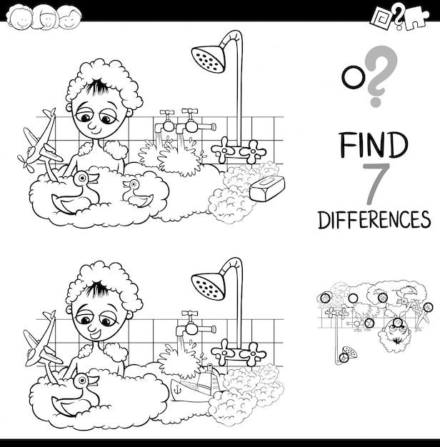 Diferencias con el niño en el libro de color de baño | Descargar ...