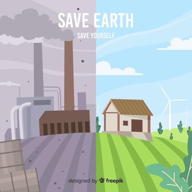 Diferencias entre energías renovables y no renovables vector gratuito