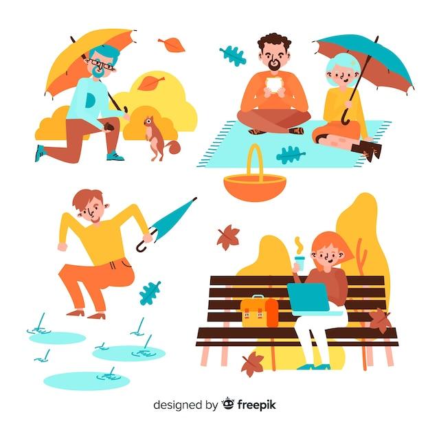 Diferentes actividades en el parque en otoño ilustración vector gratuito