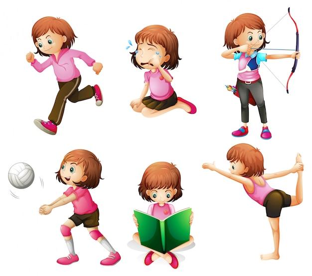 Diferentes actividades de una pequeña dama. vector gratuito