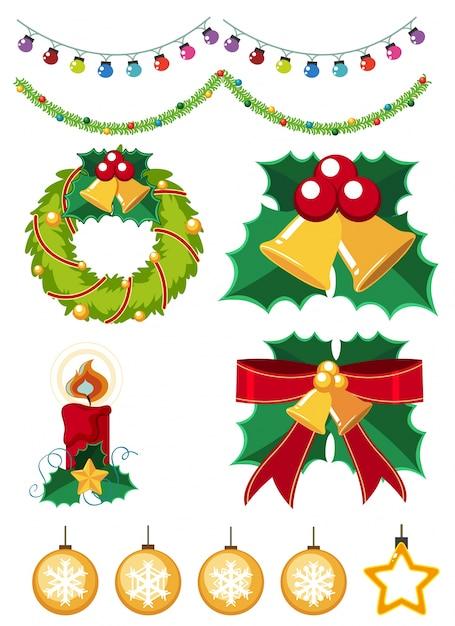 diferentes adornos de navidad sobre fondo blanco