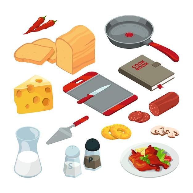 Diferentes alimentos y utensilios de cocina para cocinar. Vector Premium