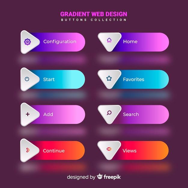 Diferentes botones web en estilo gradiente vector gratuito