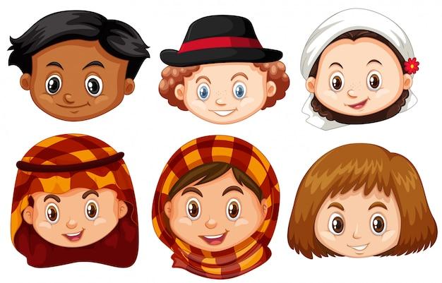 Para Niños De Dibujos Animados Caras Diferentes: Diferentes Caras De Niños De Diferentes Países