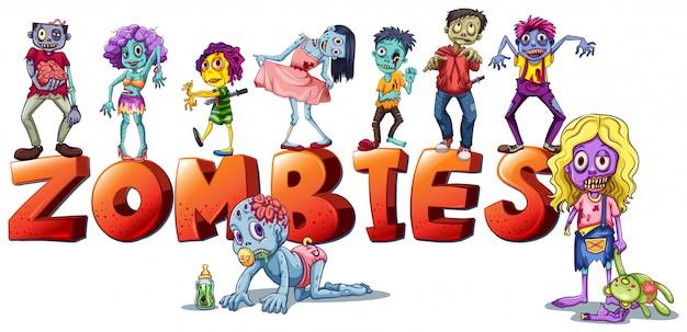 Diferentes caras de zombies vector gratuito