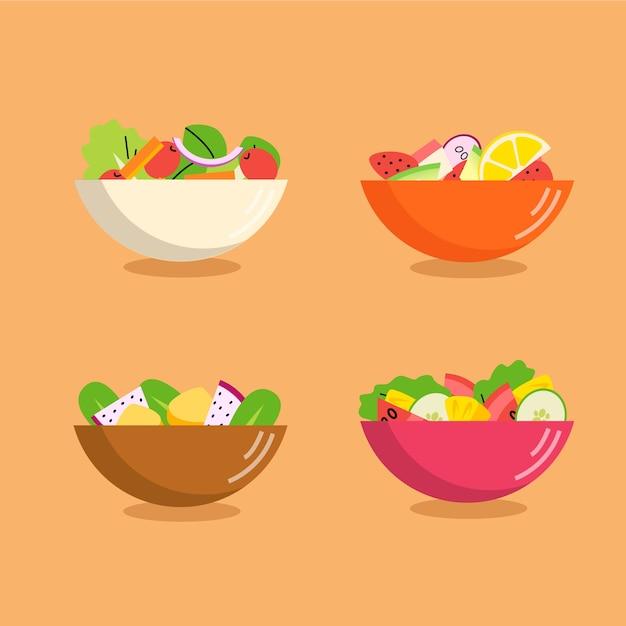 Diferentes colores de cuencos llenos de frutas y ensaladas. vector gratuito
