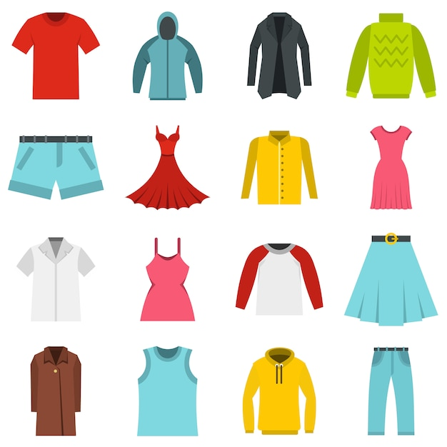 Diferentes conjuntos de ropa iconos planos Vector Premium