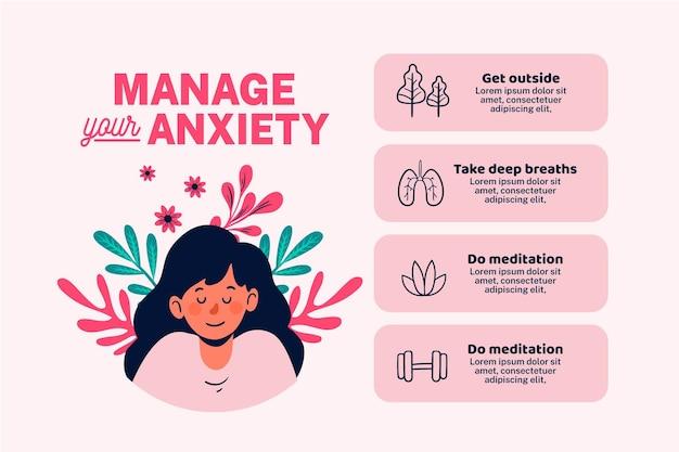 Diferentes consejos para ansiedad infografía vector gratuito