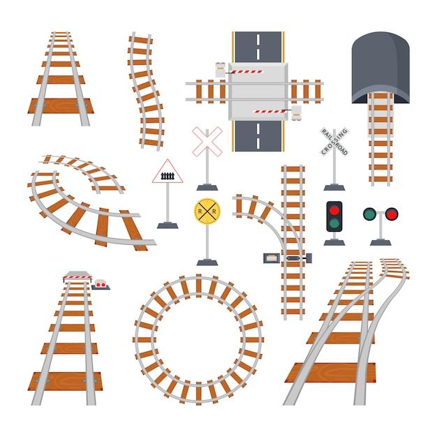 Diferentes elementos estructurales del ferrocarril. colección de vectores en estilo de dibujos animados Vector Premium