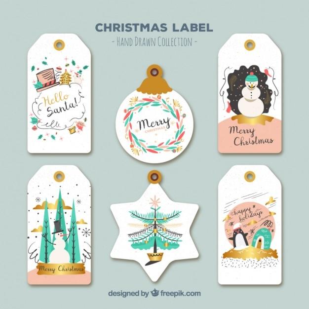 Diferentes etiquetas con bonitos dibujos navideños vector gratuito