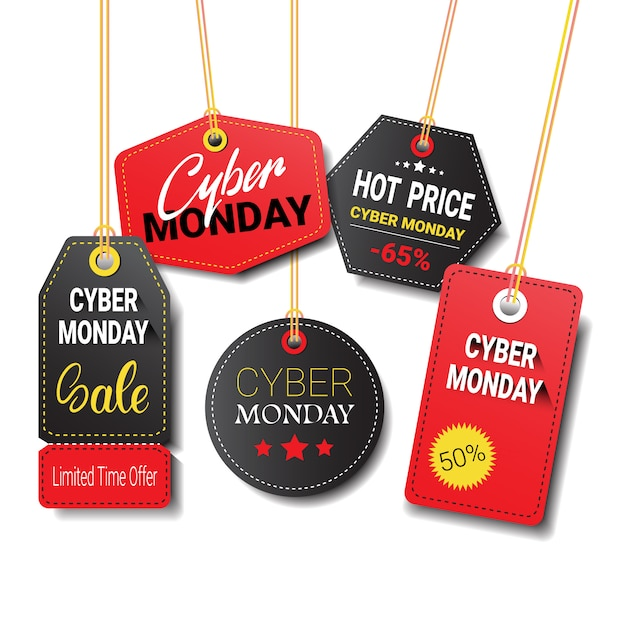 Diferentes etiquetas de venta de cyber monday o conjunto de etiquetas aislado Vector Premium