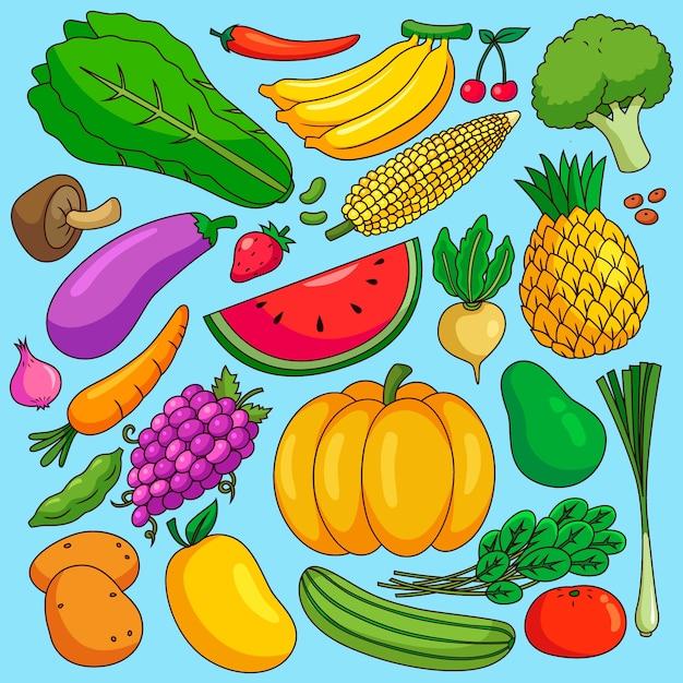 Diferentes frutas y verduras vector gratuito