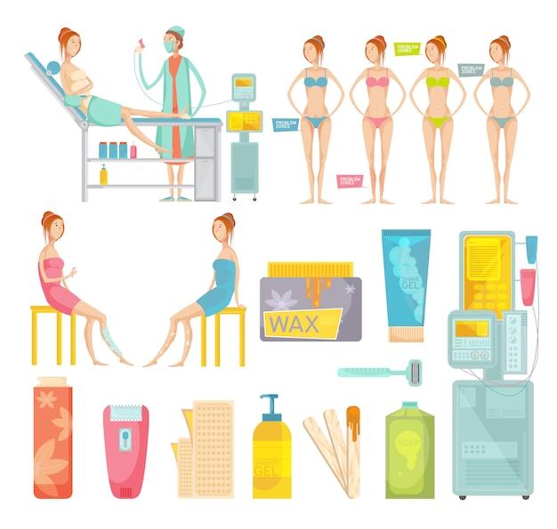 Diferentes herramientas de depilación y procedimiento de depilación en un conjunto plano de salón de colores aislado sobre fondo blanco vector gratuito