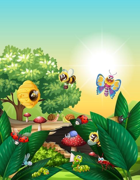 Diferentes insectos que viven en la escena del jardín durante el día. vector gratuito