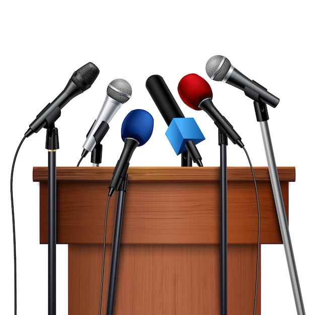 Diferentes micrófonos multicolores. vector gratuito