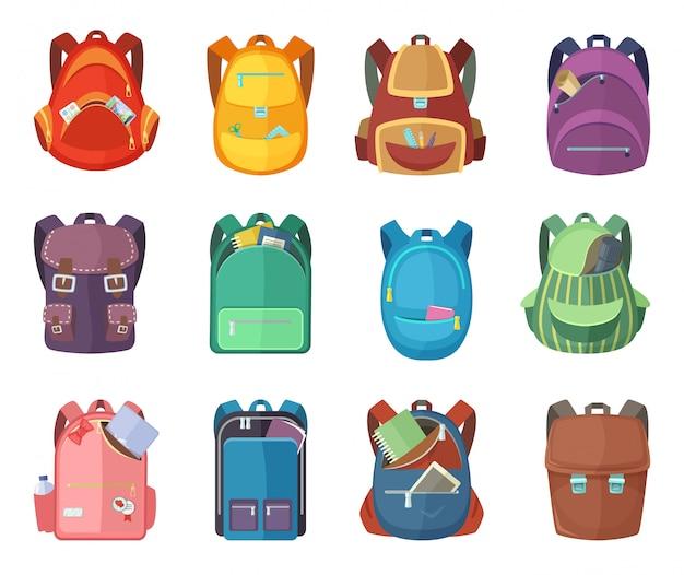 Diferentes mochilas en estilo de dibujos animados aislar sobre fondo blanco. ilustraciones de vectores de educación Vector Premium