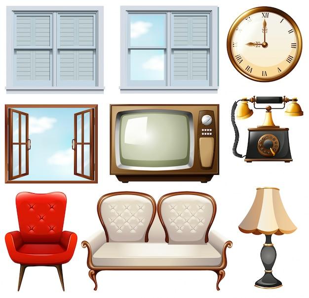 Diferentes muebles de poca en blanco descargar vectores for Muebles de epoca