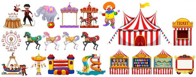 Diferentes objetos del circo. vector gratuito
