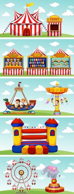 Diferentes paseos en el circo. vector gratuito