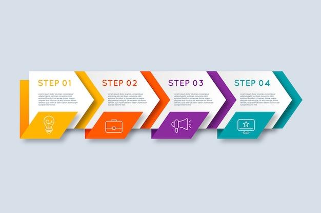 Diferentes pasos para la infografía. vector gratuito