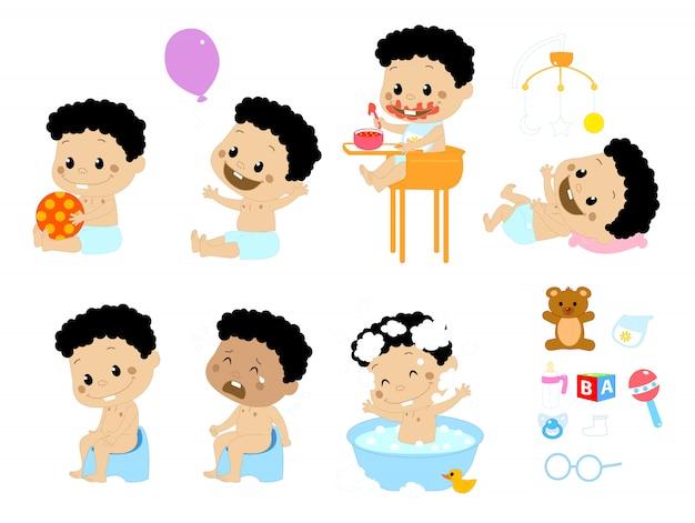 Diferentes poses y complementos para bebés. Vector Premium