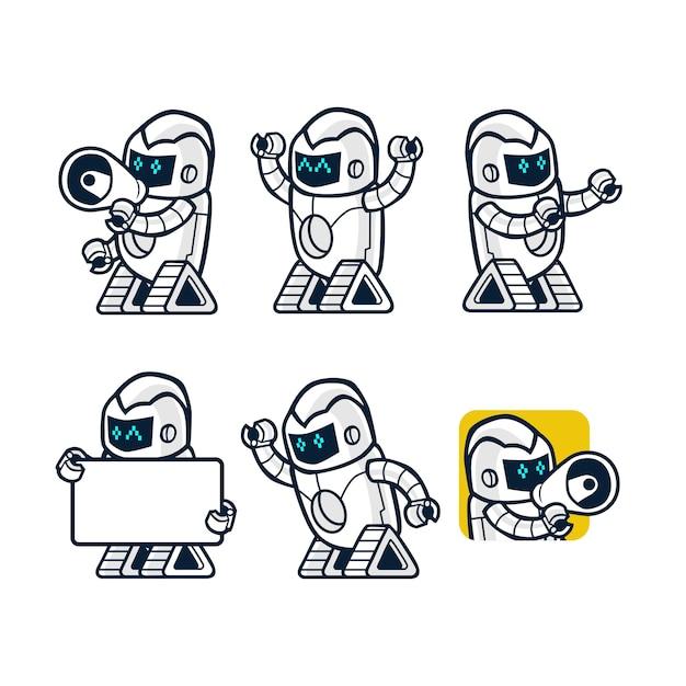 Diferentes poses robot innovación tecnología ciencia ficción futuro ...