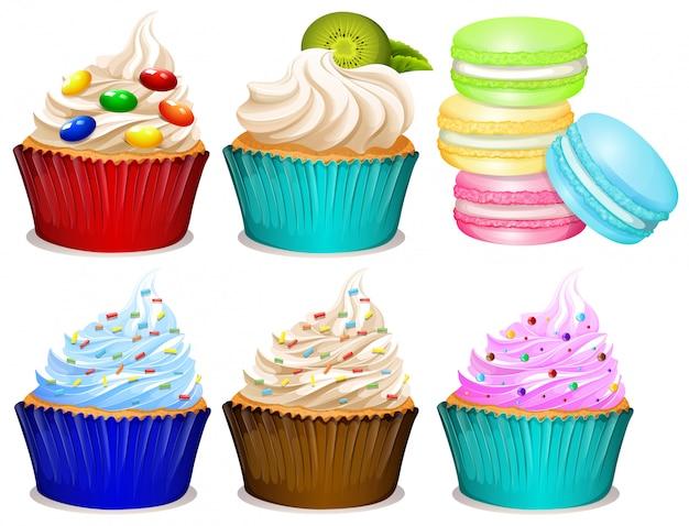 Diferentes sabores de cupcakes. vector gratuito