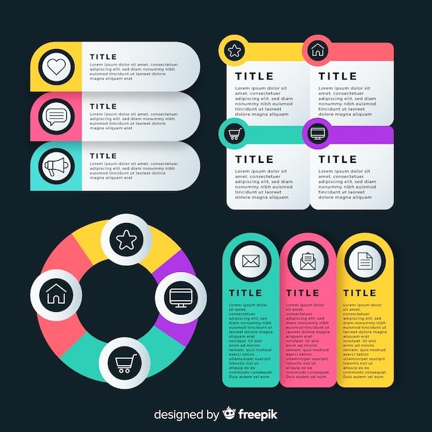 Diferentes secciones en diseño plano. vector gratuito