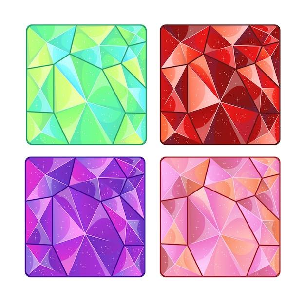 Diferentes texturas de piedras preciosas para el juego. ilustración de dibujos animados. Vector Premium
