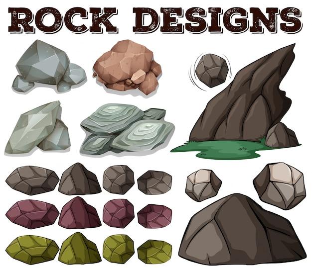 Diferentes, tipo, roca, diseños, ilustración vector gratuito