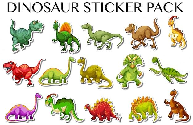 Diferentes tipos de dinosaurios en la ilustración de diseño de pegatina vector gratuito