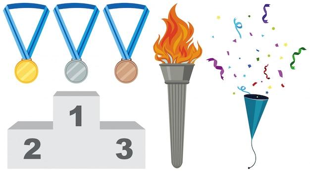 Diferentes tipos de medallas y antorchas Vector Premium