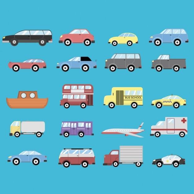 Diferentes transportes sobre un fondo azul vector gratuito