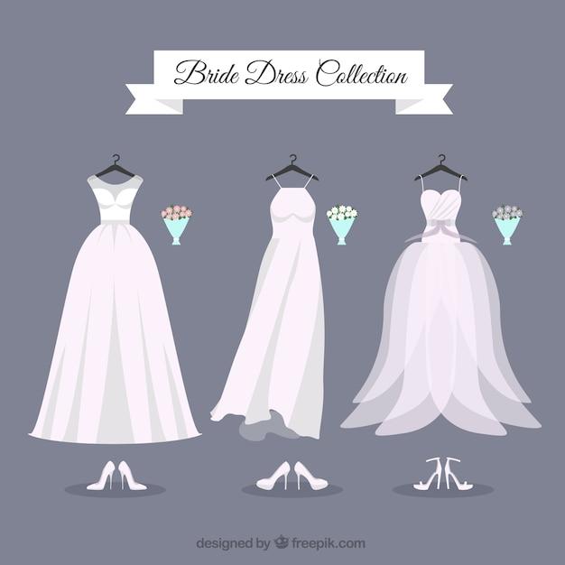 Diferentes vestidos de novia con ramo | Descargar Vectores