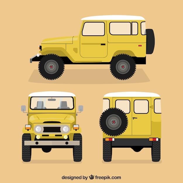Diferentes vistas de coche amarillo offroad Vector Premium