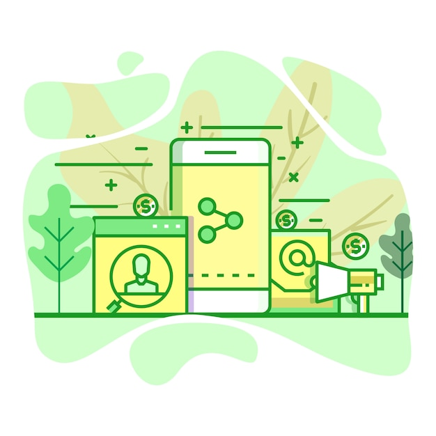 Difusión moderna ilustración plana de color verde Vector Premium