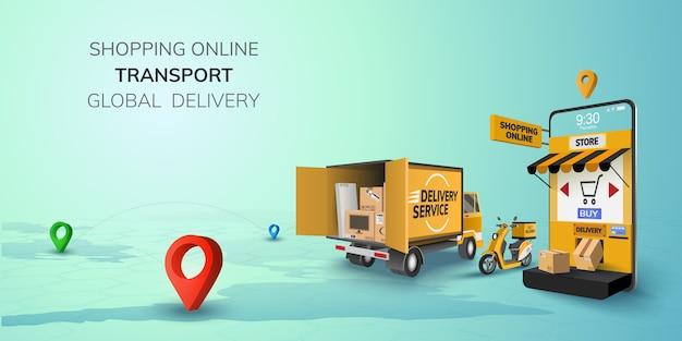 Digital online shop logística global truck van scooter negro amarillo entrega en el teléfono, fondo del sitio web móvil. concepto de ubicación de compras caja de envío de alimentos. ilustración 3d copia espacio Vector Premium