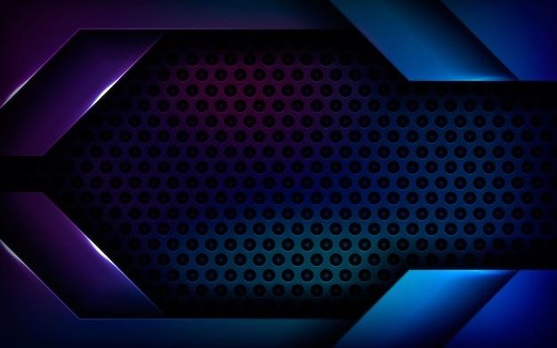 Dimensión abstracta azul fondo negro Vector Premium