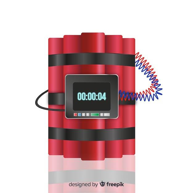 Dinamita realista con reloj vector gratuito