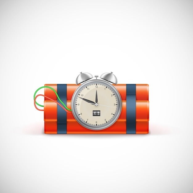 Dinamita con reloj. bomba de tiempo Vector Premium
