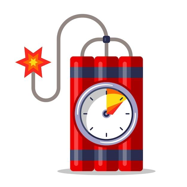 Dinamita roja con cronómetro y mecha encendida. ilustración plana aislada sobre fondo blanco. Vector Premium