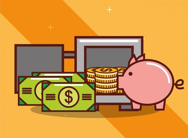 Dinero de la alcancía Vector Premium