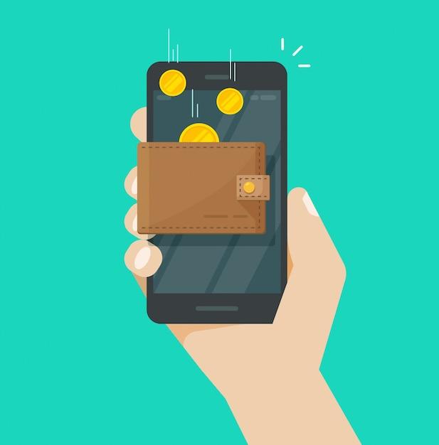 Dinero de ingresos en línea en dibujos animados planos de billetera electrónica Vector Premium