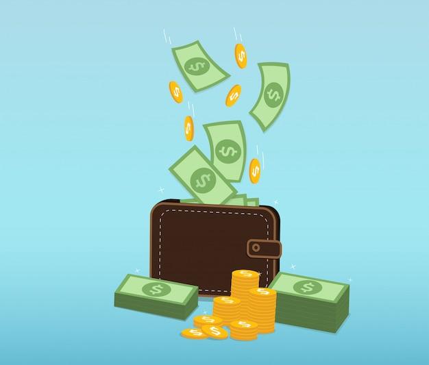 Dinero y monedas cayendo en una billetera de cuero. Vector Premium