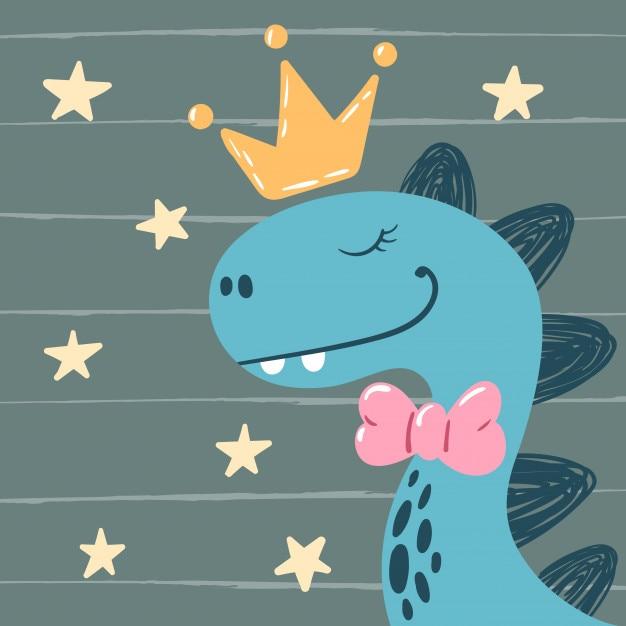 Dino, pequeña princesa - personajes lindos. Vector Premium